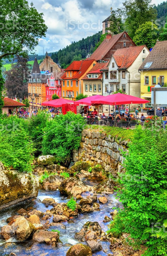 The Gutach river in Triberg im Schwarzwald town - Germany stock photo