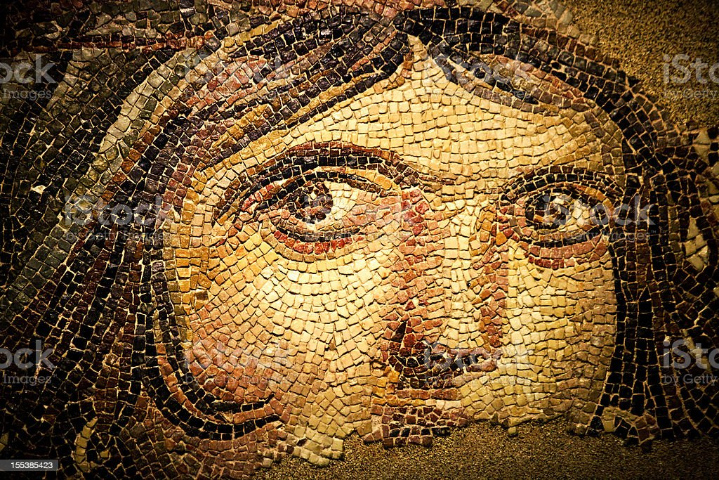 The Gypsy Girl Mosaic of Zeugma (Gaia) royalty-free stock photo