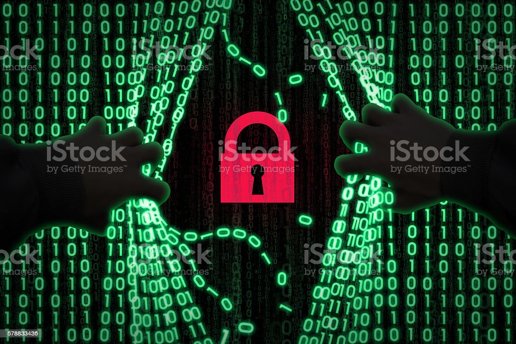 the hacker enters the computer stock photo