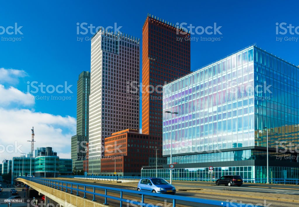 The Hague City Center Skyline and Skyscrapers stock photo
