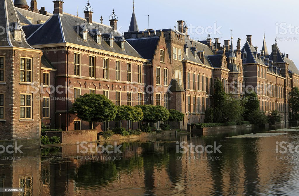 The Hague parliament building near the water stock photo
