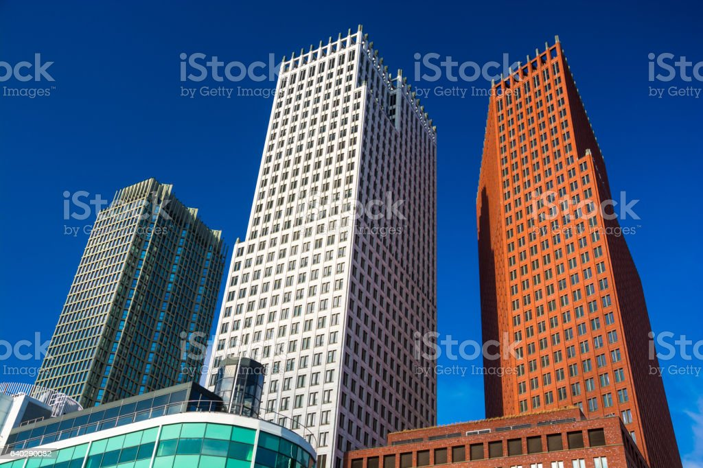The Hague skyscrapers from below stock photo