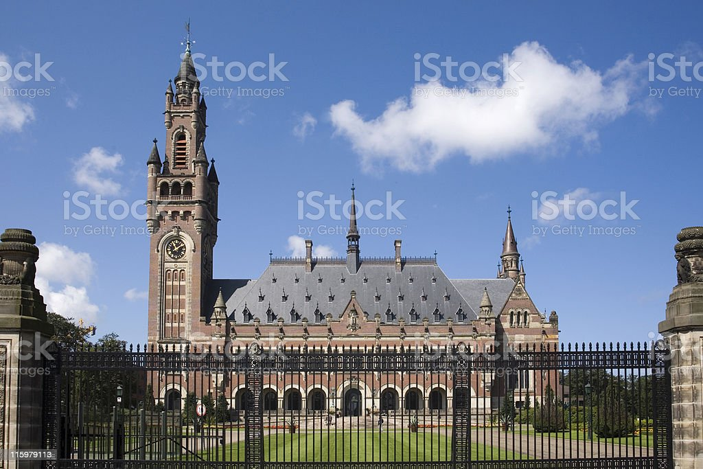 The Hague's Peace Palace, home to many international judicial institutions royalty-free stock photo