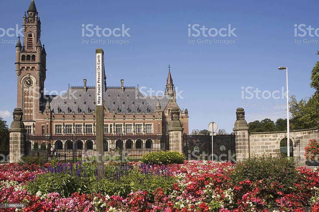 The Hague's Peace Palace, home to many international judicial institutions stock photo