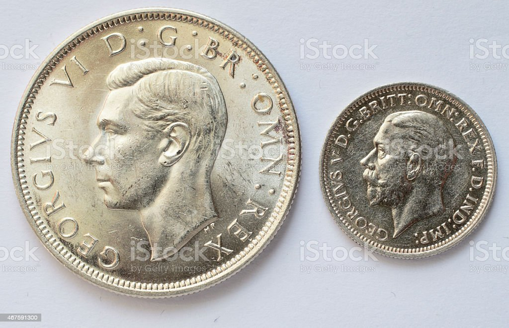 Half crown and sixpence silver coins George V and VI stock photo