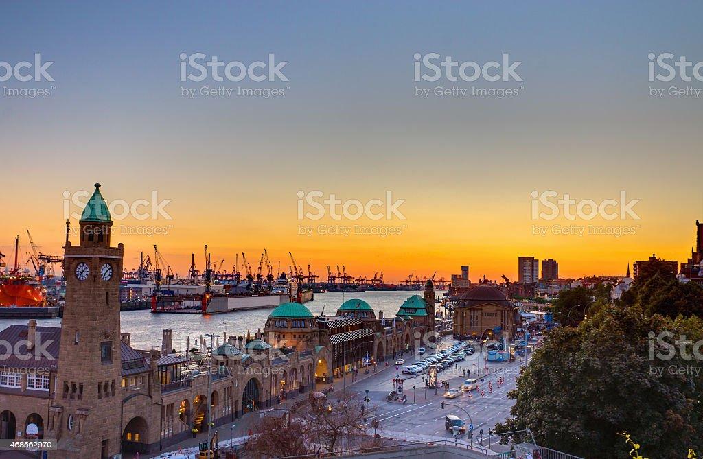 The Hamburg harbour at sunset stock photo