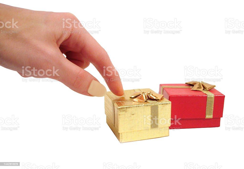 A mão escolher uma das caixas, isolado a branco foto de stock royalty-free