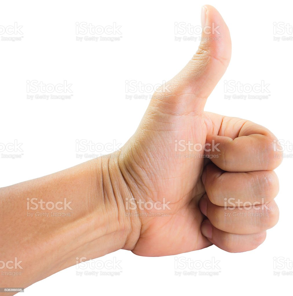 The hand shows thumbs up stock photo