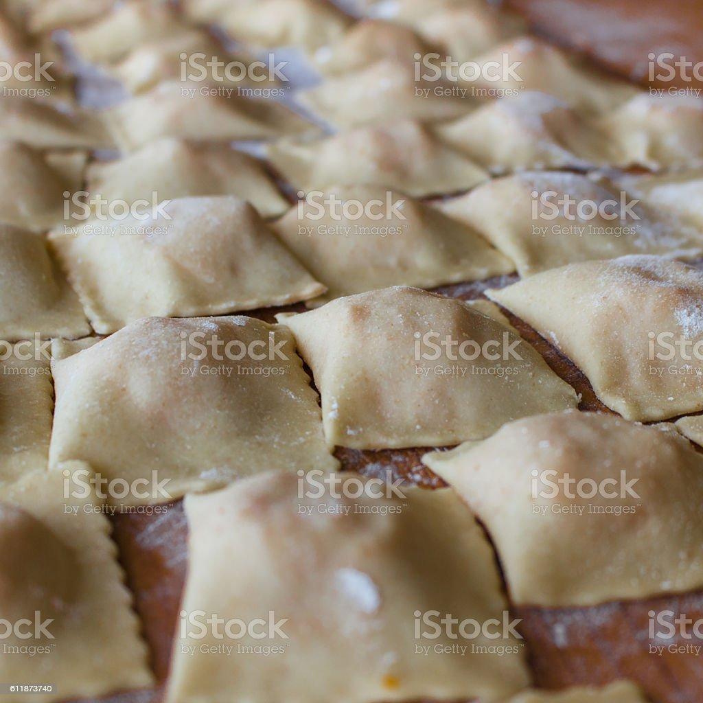 The handmade ravioli stock photo