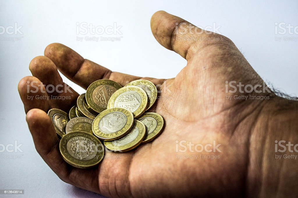 the hands of the miners stock photo