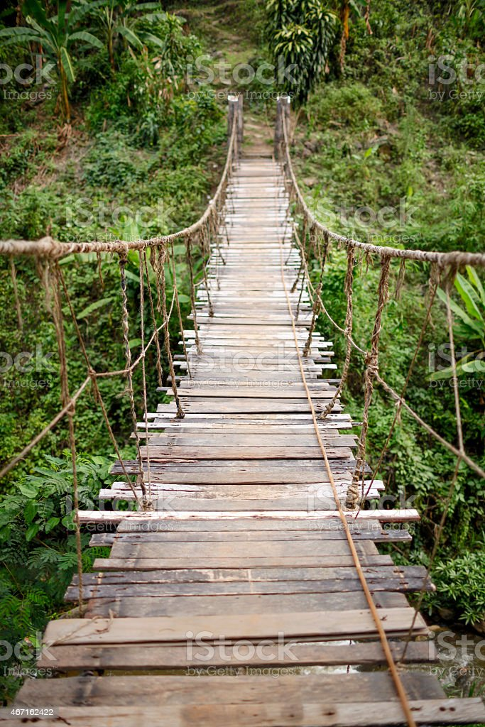 The hanging wooden old bridge royalty-free stock photo