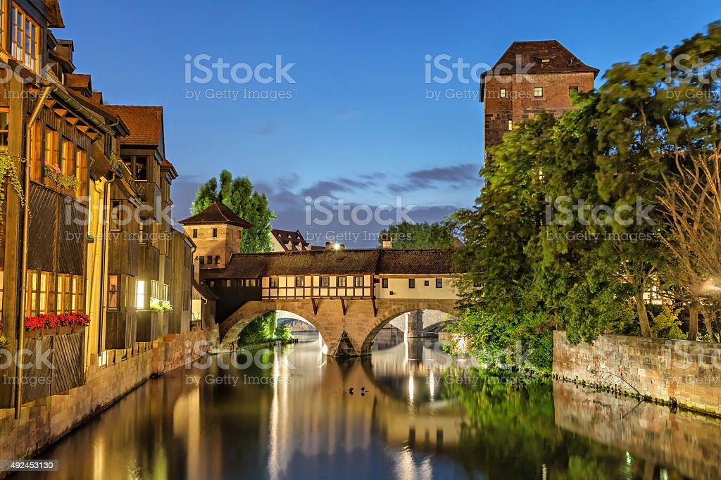 The Hangman Bridge (Henkersteg) in Nuremberg stock photo