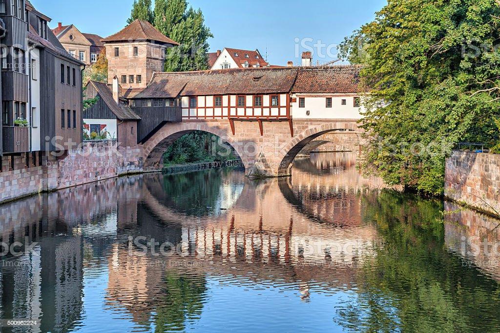 The Hangman Bridge in Nuremberg stock photo