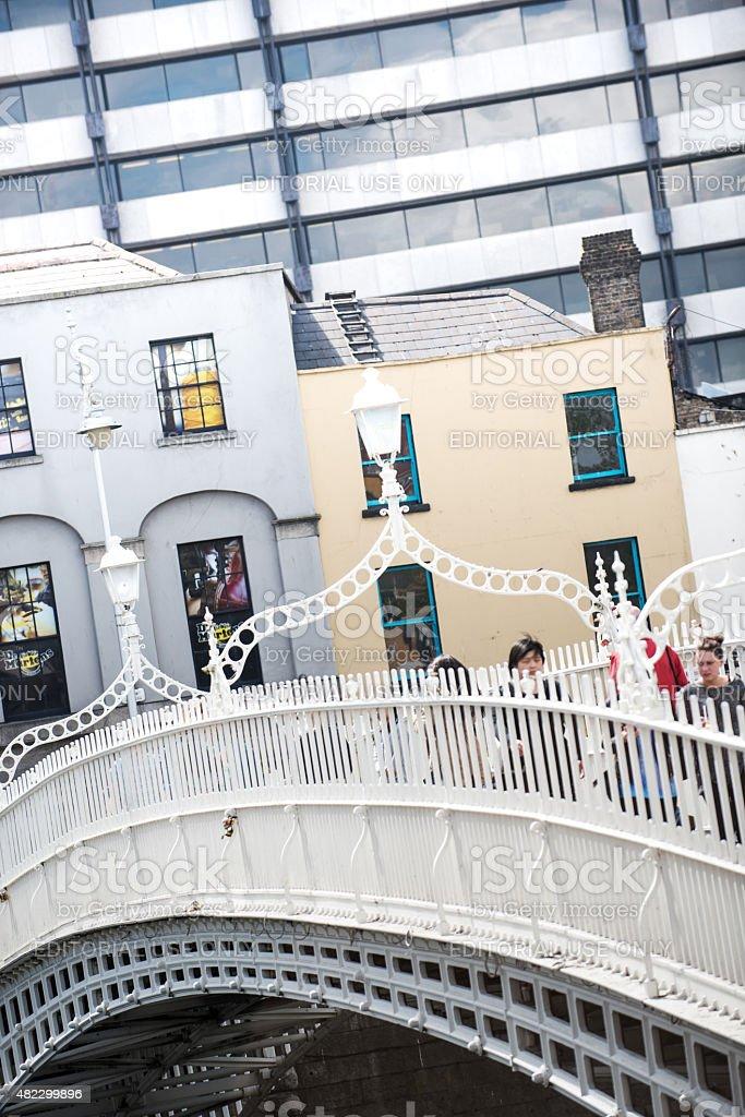 The Ha'penny Bridge, Dublin stock photo