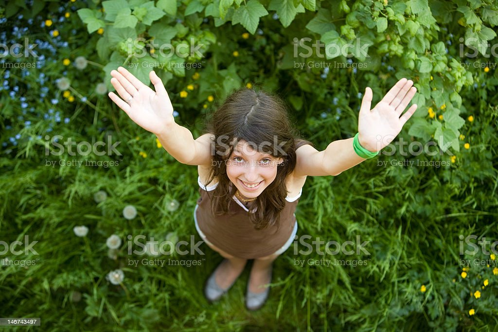The happy girl stands on a green grass stock photo