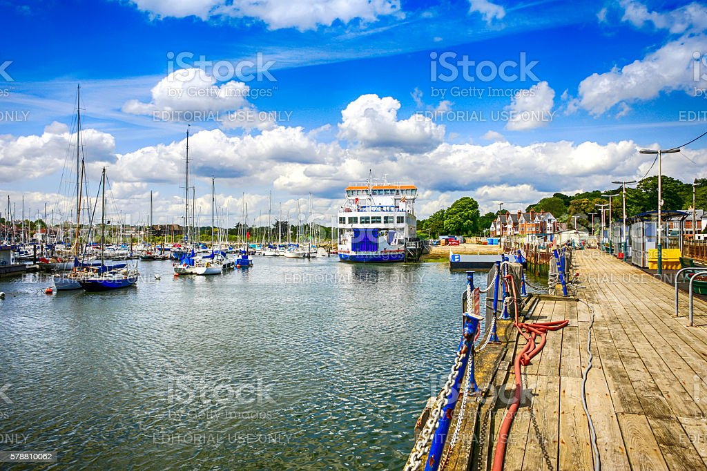The harbor and IOW ferry boat in Lymington, UK stock photo