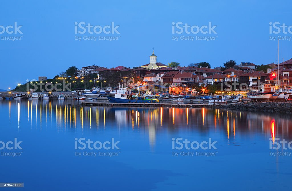 The harbor of the old town of Nessebar, Bulgaria stock photo