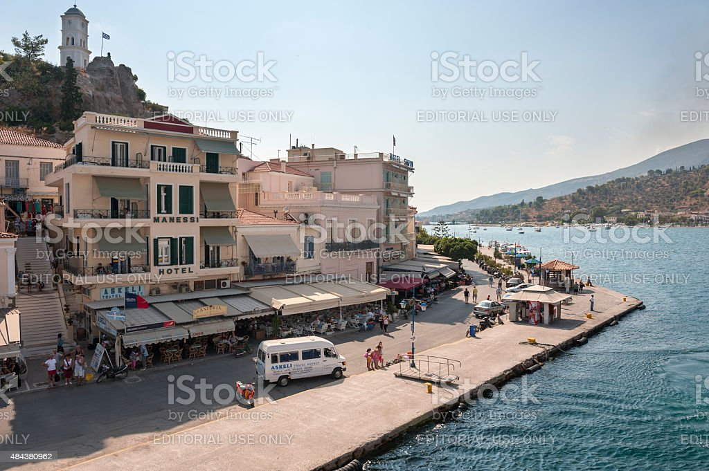 The Harbor of the Town of Poros, a Greek Island stock photo