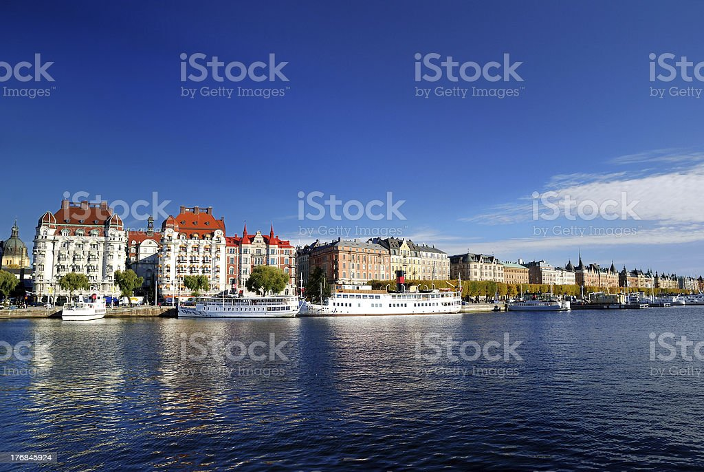 the harbor part of Stockholm royalty-free stock photo
