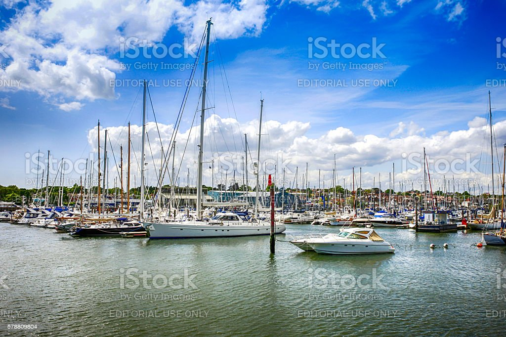 The harbour and marina at Lymington, UK stock photo