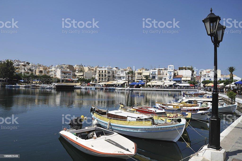 The harbour at  Agios Nikolaos in Crete, Greece stock photo