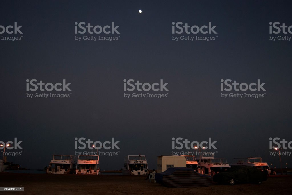 The harbour at night royalty-free stock photo