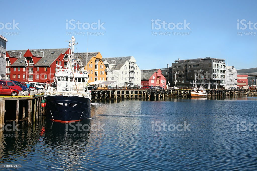 The harbour in Tromso, Norway stock photo