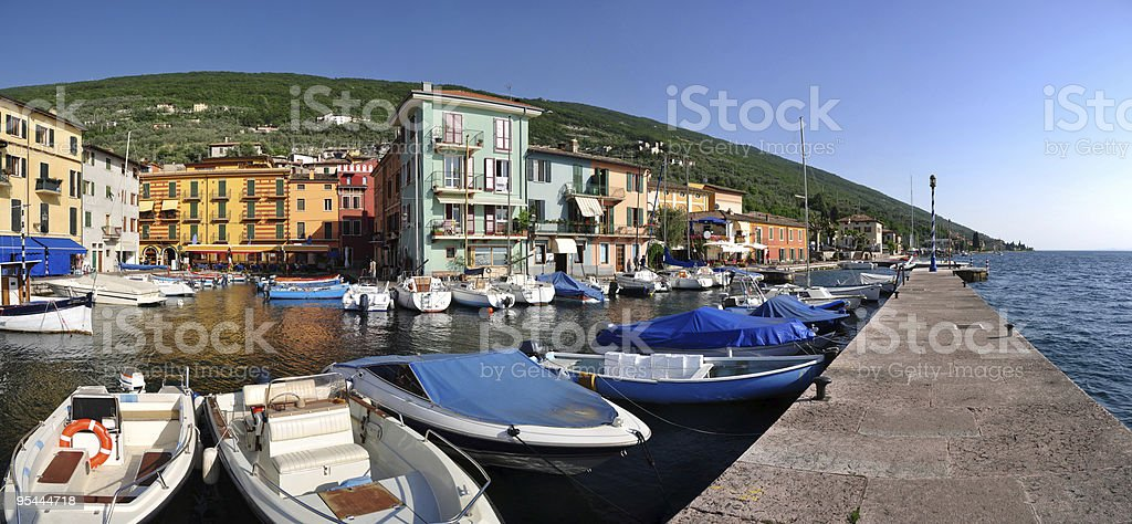 The harbour of Castelletto die Brenzone at Lago di Garda stock photo