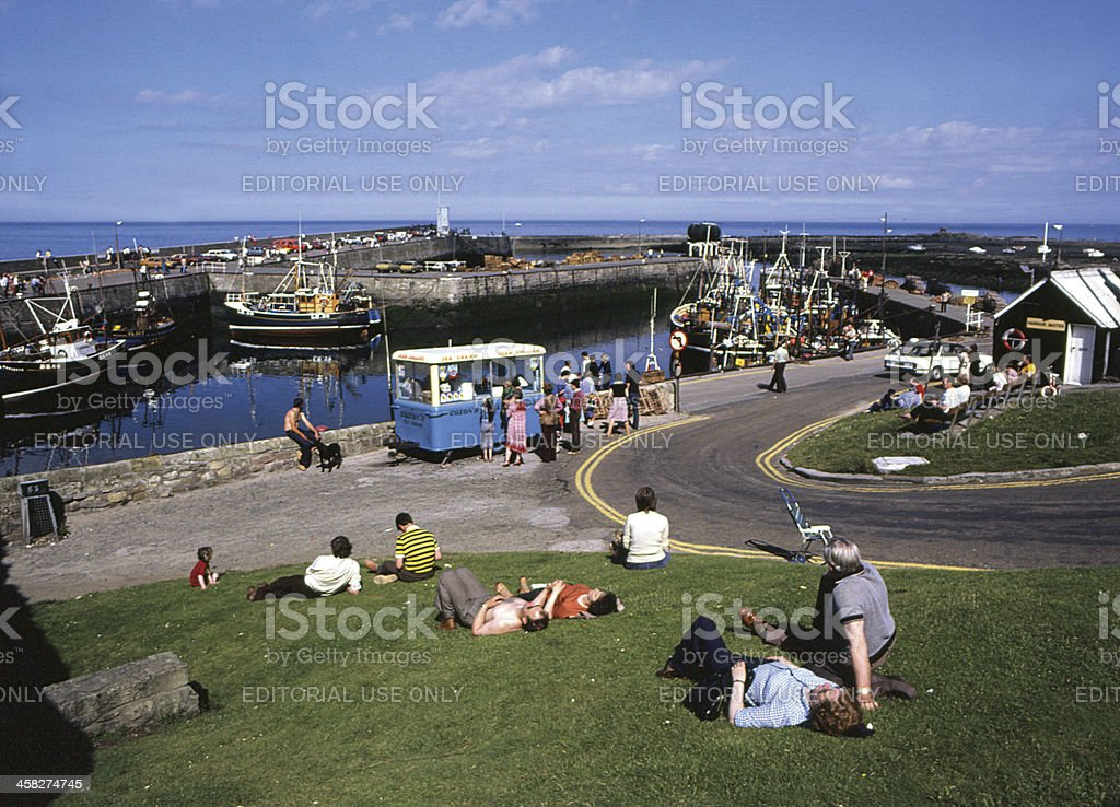 The Harbour, Seahouses Northumberland, England. stock photo