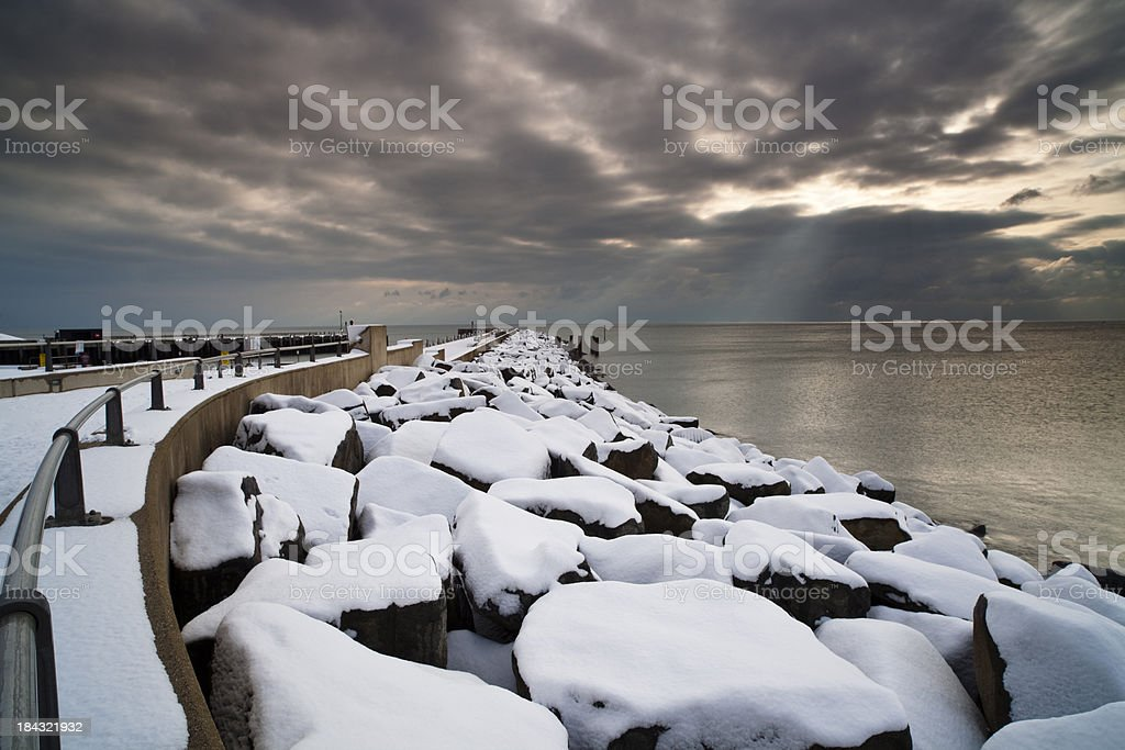 The harbour wall, West Bay, Dorset, U.K stock photo