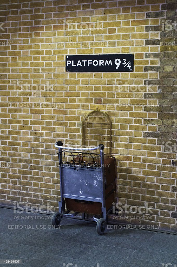 The Harry Potter trolley at Kings Cross stock photo