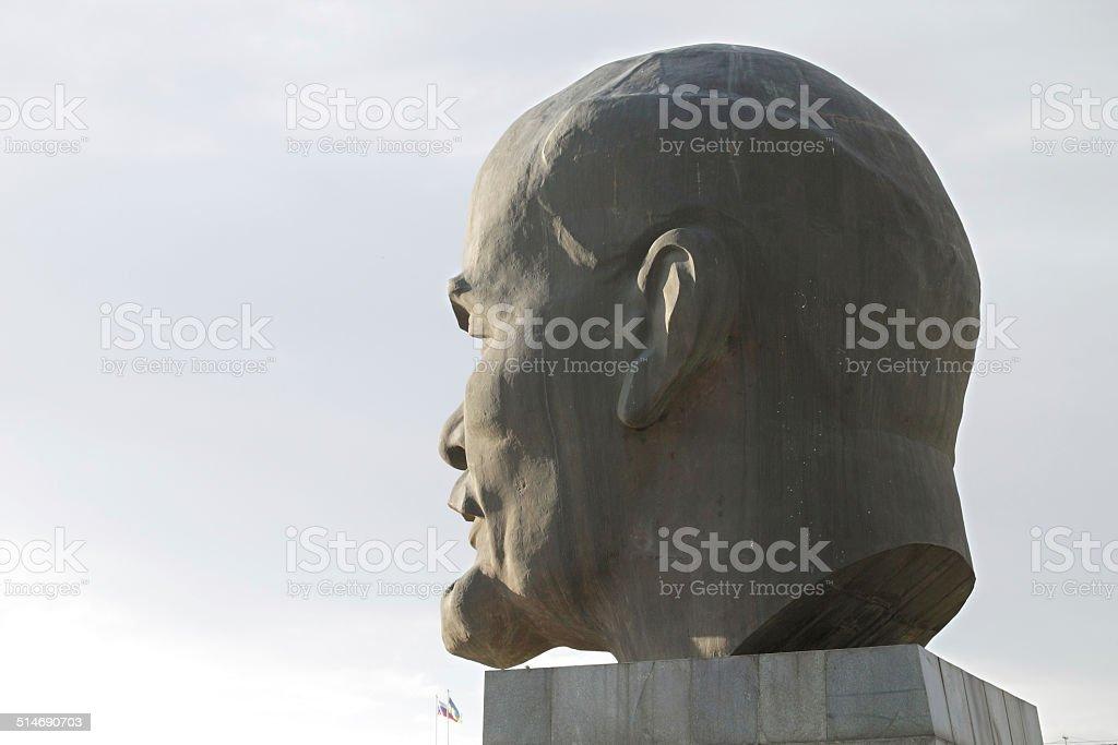 The head of  Lenin in bronze stock photo