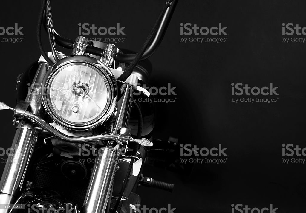 The headlights of a motorcycle stock photo