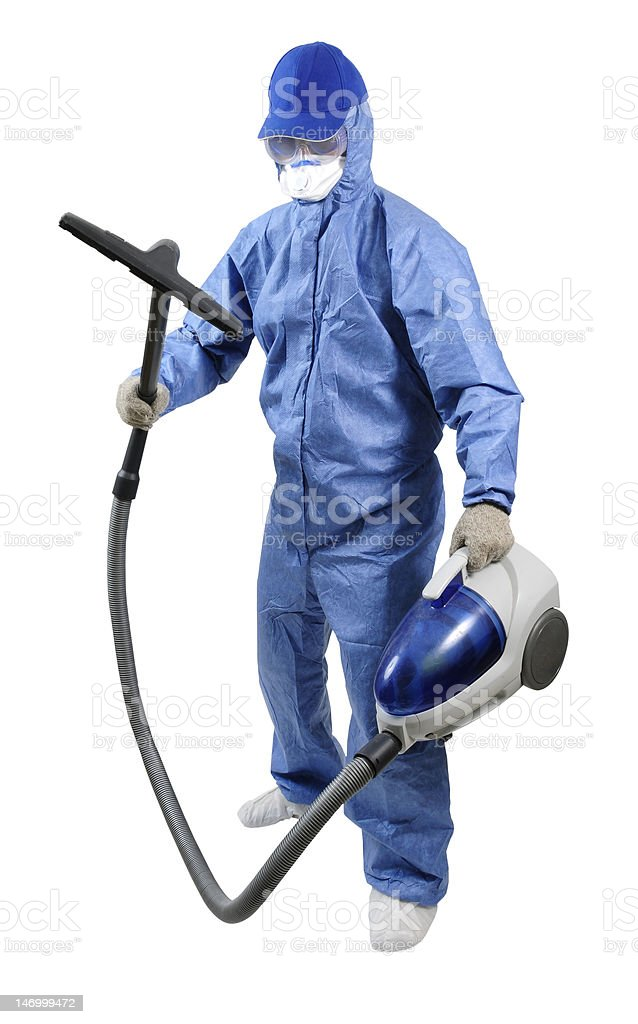 The head-to-toe protection janitor royalty-free stock photo