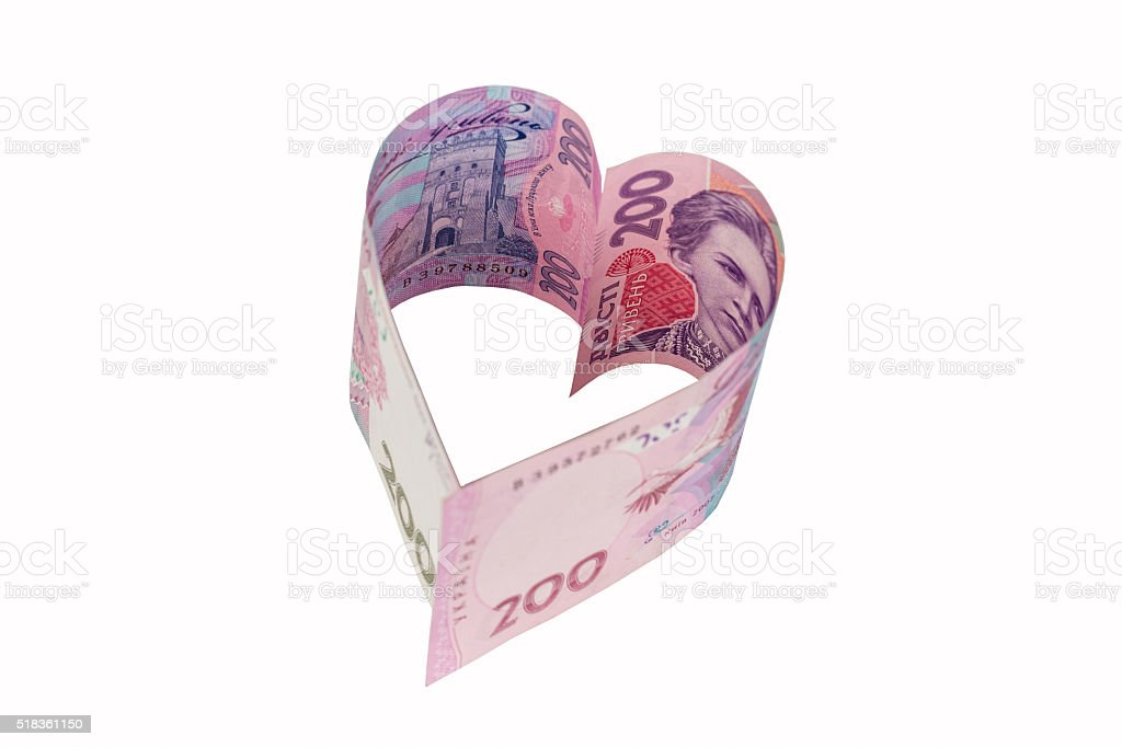 the heart from hryvnia stock photo