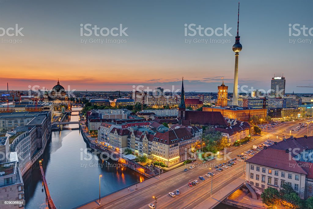 The heart of Berlin after sunset stock photo