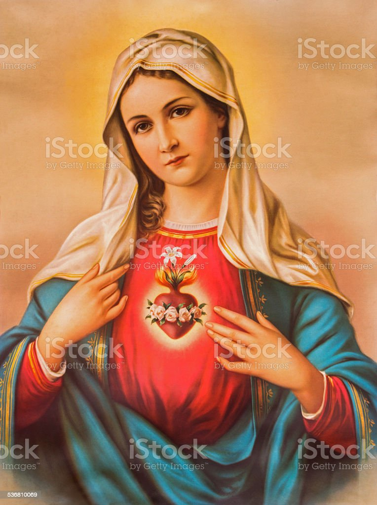 The Heart of Virgin Mary - Typical catholic image stock photo