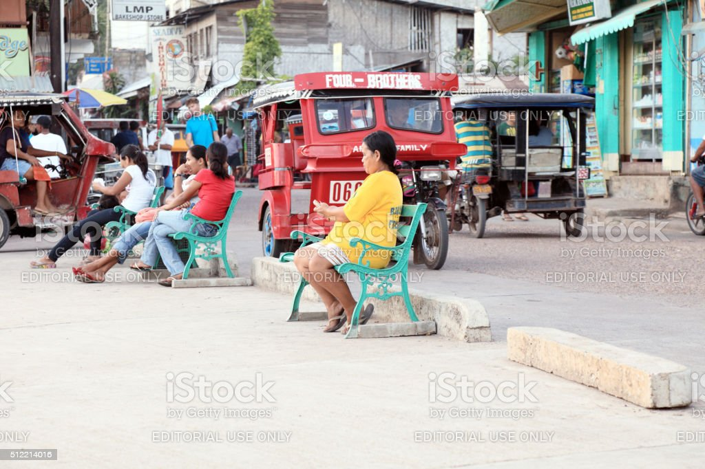 The hectic life on the main street in Coron stock photo
