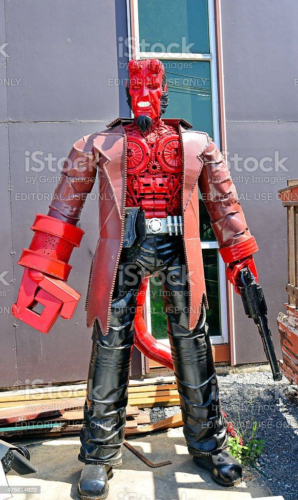 The Hellboy model made from scrap metal stock photo