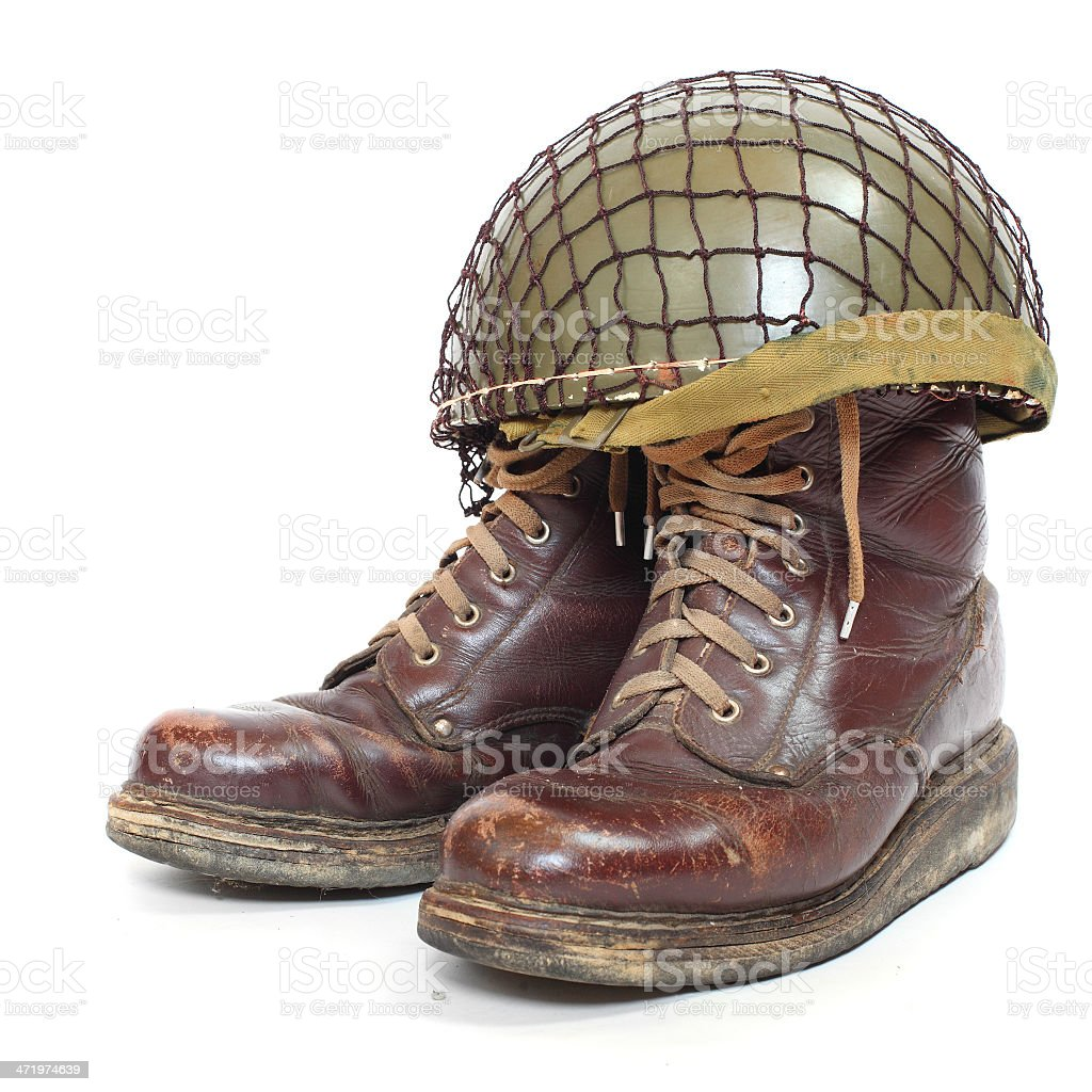The helmet and boots stock photo