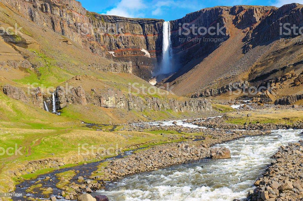 The Hengifoss waterfall in Iceland stock photo