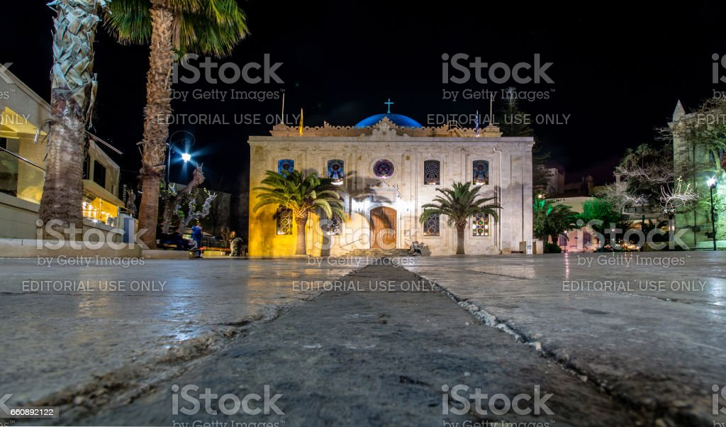The Heraklion Town Hall at Pl. Agiou Titou street, built in 17th century by the General Provisioner Frangisko Morosini. stock photo