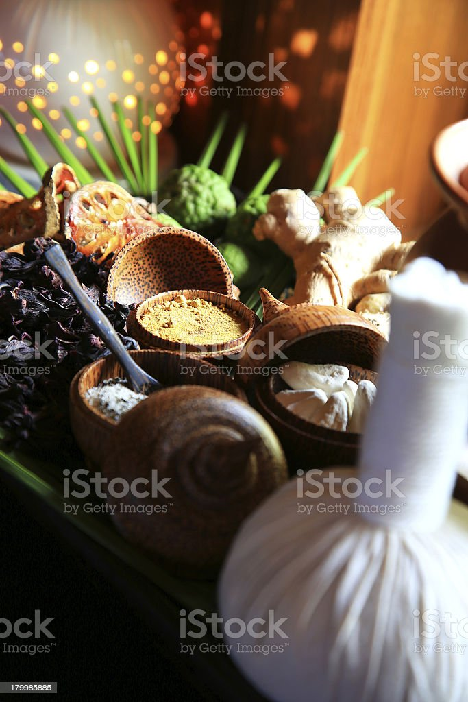 The Herbal compress ball for spa treatment stock photo