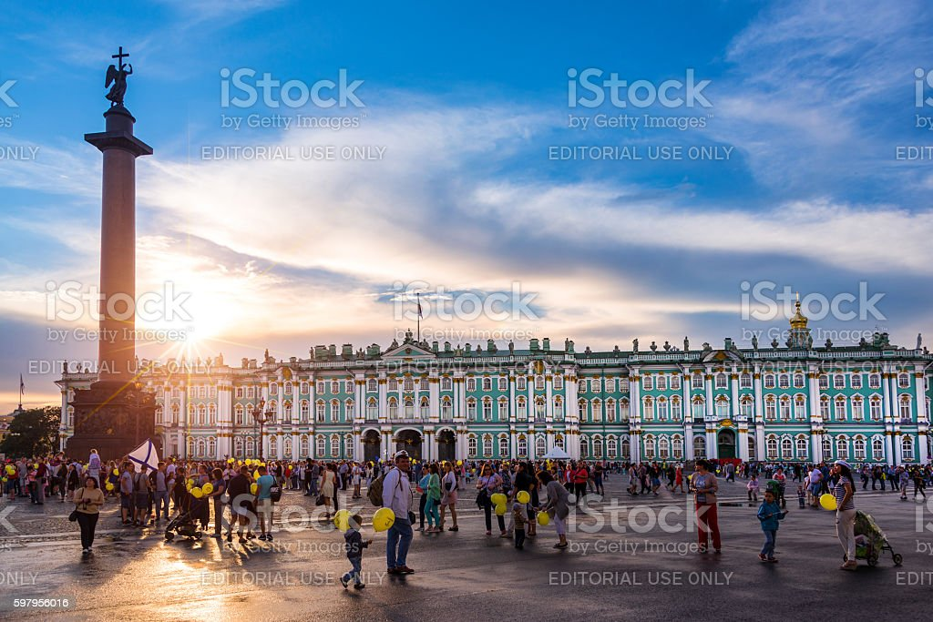 The Hermitage, sunset on Palace Square, St Petersburg Russia stock photo