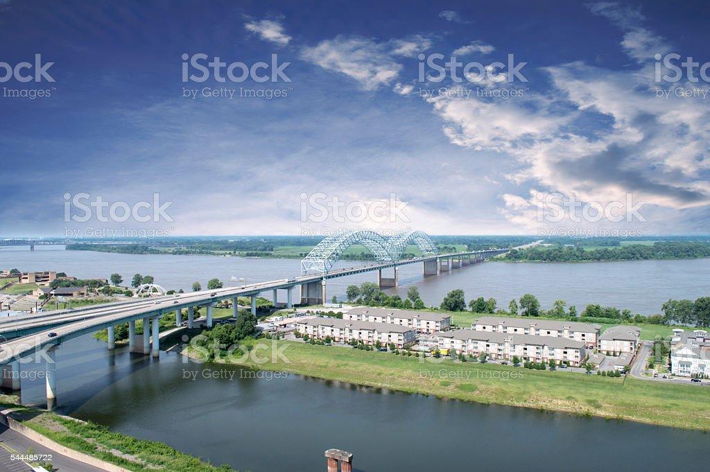 The Hernando de Soto Bridge in Memphis, TN stock photo