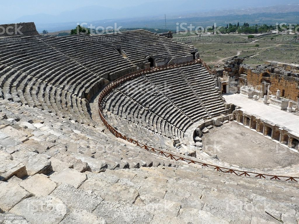 The Hierapolis Amphitheatre, Anatolia, Turkey stock photo