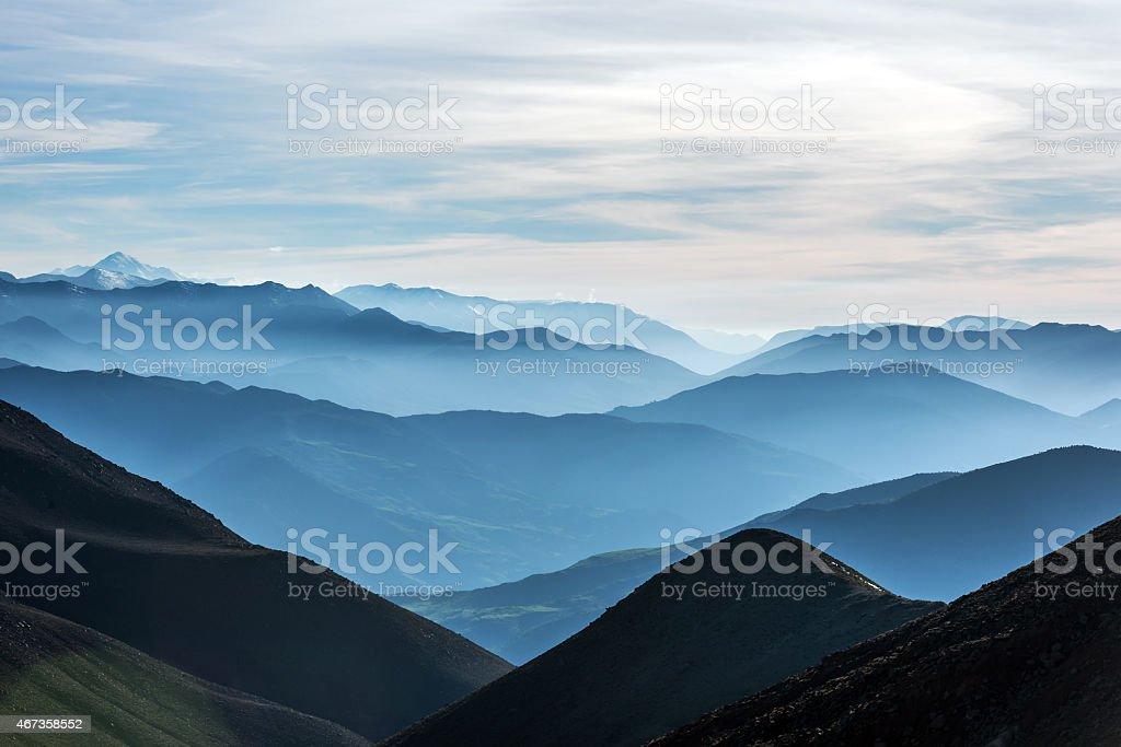 The High Atlas, valleys, hills mist, tree, Morocco, Africa stock photo