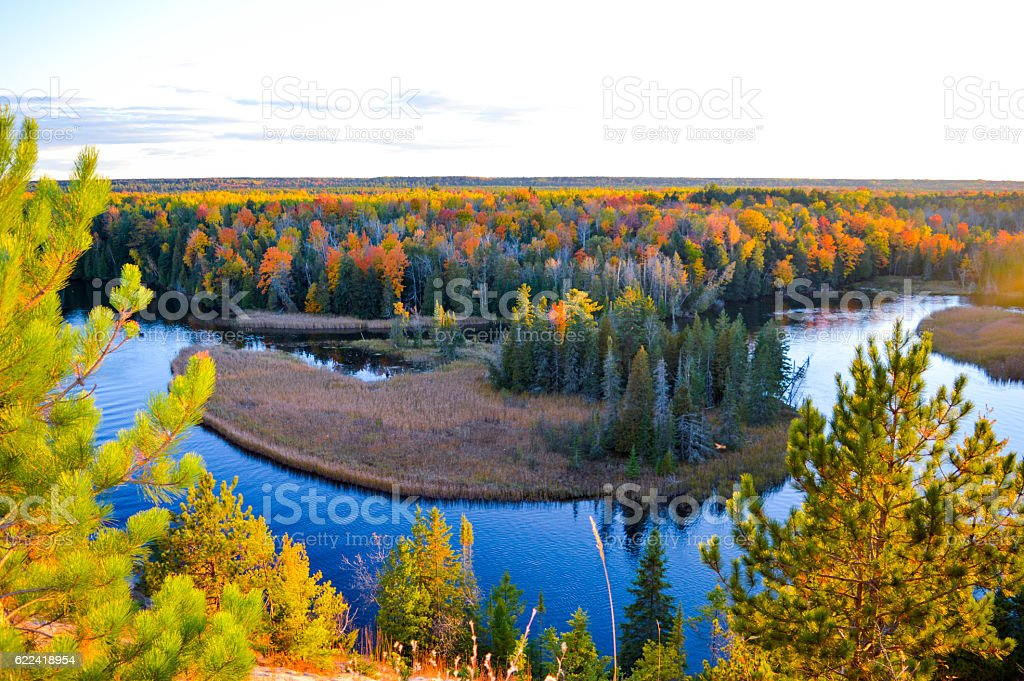 The High banks of the Ausable River in Autumn stock photo
