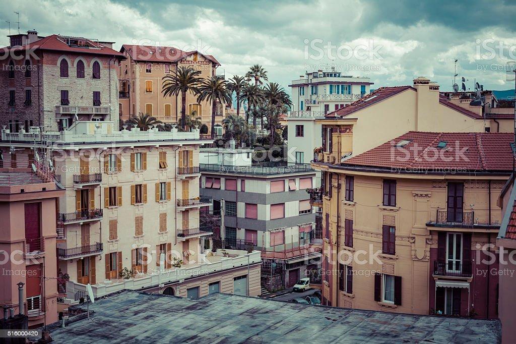 The high narrow houses of La spezia, Italy. stock photo