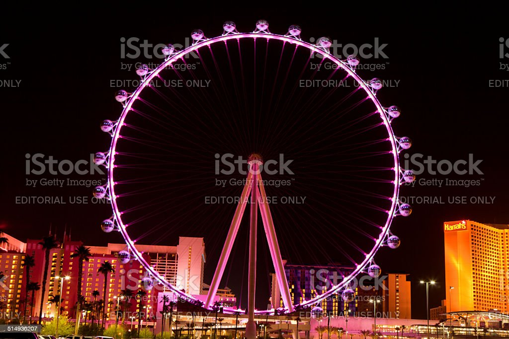 The High Roller Ferris Wheel in Las Vegas , Nevada (nighttime) stock photo
